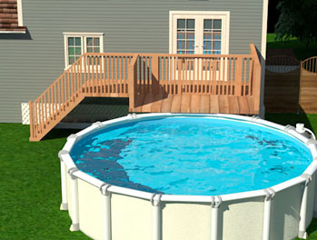 Above-ground pools: Fence in the patio, deck or terrace that gives access to the pool.